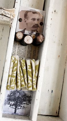 Antique drawer collage by Rebecca Sower