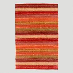 6'x9' Pebble Chindi Rug, Persimmon