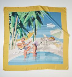 Hand printed ladies' silk scarf by Princess Yachts in partnership with Thomas Pink in Gold.   Renowned Spanish illustrator Jaume Vilardell was commissioned to produce an image encapsulating the 1960's holiday-chic vibe to incorporate into the design. A glamorous couple lounge by the pool, with their Project 31 yacht moored in the distance - the first model produced by Princess 50 years ago.