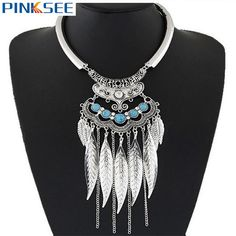 Ethnic Choker Vintage Leaf Feather Tassels Turquoise Statement Chunky Bib Necklaces For Women Jewelry Silver Gold Color