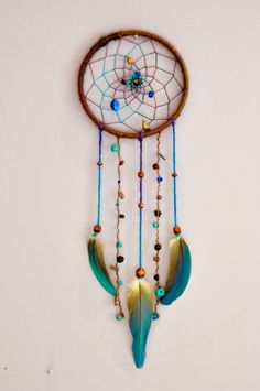off Deep Purples and Blues Dreamcatcher with by jasmineJOYs Pheasant Feathers, Feather Design, Cockatoo, Dreamcatchers, Deep Purple, Starfish, Doilies, Wind Chimes, Sea Shells