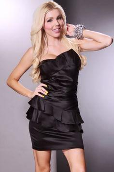 Black Strapless Asymmetrical Sexy Party Dress