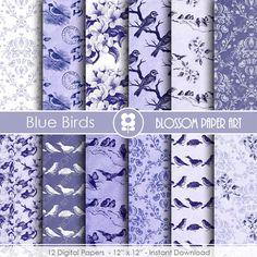 Blue Digital Paper, Birds Digital Paper Blue Birds Scrapbooking Paper Pack, Vintage Papers - INSTANT DOWNLOAD  - 1807