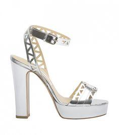 *.* Bionda Castana Zoe Calf Leather Laser Cut Platform Sandals