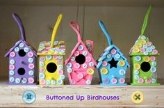 Sew Country Chick: fashion sewing and DIY: Buttoned Up Birdhouses:Kids Craft Tutorial