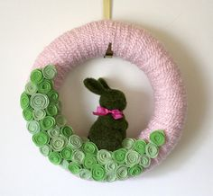 pink and green nursery bunny