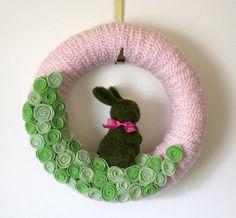pink and green nursery bunny