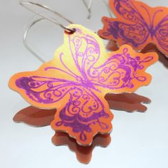 Butterfly Earrings in Orange and Purple Anodised Aluminium £9.95