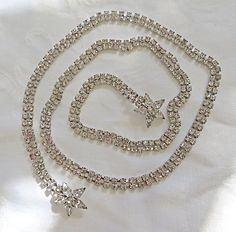 Vintage Rhinestone Belt Necklace Wedding by VintageVogueTreasure