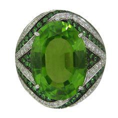 ASPREY Gold Diamond Peridot Tsavorite Cocktail Ring