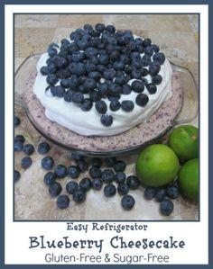 Easy Refrigerator Blueberry Cheesecake! Sugar and gluten free
