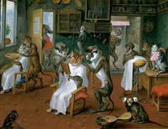 """Abraham Teniers (1629-1670) """"Barber's Shop with Monkeys and Cats"""""""