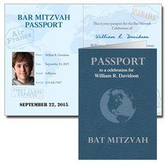 Passport invitation #barmitzvah #batmitzvah #invitations #announcements #savethedates #candywrappers #bookmarks