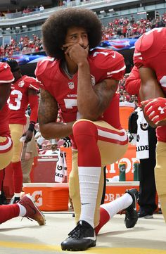 - Colin Kaepernick #7 of the San Francisco 49ers kneels on the sideline during the anthem prior to the game against the Dallas Cowboys at Levi's Stadium on October 2, 2016 in Santa Clara, California.