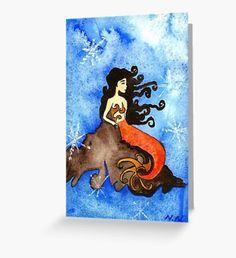 Winter Mermaid Greeting Card Mermaid Illustration, Winter Illustration, Illustration Art, Mermaid Quotes, Mermaid Artwork, Original Paintings, Original Art, Watercolor Mermaid, Winter Fairy