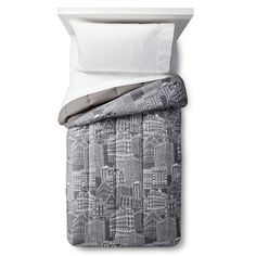 Comforter City Scape Gray - Room Essentials™ : Target