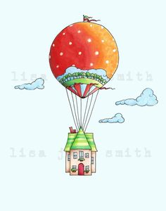 Balloon house ... hot air balloon cottage art by LisaJaneSmith, $12.00