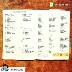 Cleaning calendar in Bullet Journal