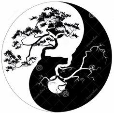 Black and white Bonsai tree on the Yin Yang symbol. Free art print of Yin Yang Bonsai. Arte Yin Yang, Ying Y Yang, Yin Yang Art, Yin And Yang, Tatoo Ying Yang, Yin Yang Tattoos, Ying Yang Symbol, Life Tattoos, Body Art Tattoos