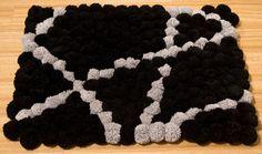 Pompom Rug/Black & Gray / Handmade bathroom mat/ Home decor/