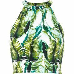 { tropical print crop top }
