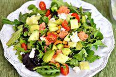 Mixed greens, arugula, avocado, tomatoes, cucumbers, goat cheese, chili lime cashews, Sriracha lime salmon and a cilantro lime vinaigrette
