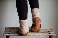 Wool Slipper Socks, Leather Soles