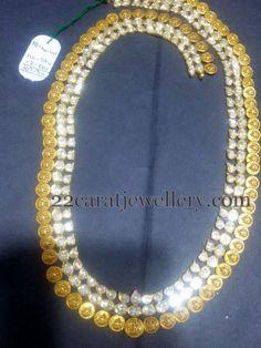 Jewellery Designs: Kasu Mala with Two Layer Kundans