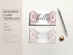 Floral business card template / Elegant business by ChicTemplates