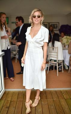 Sienna Miller in Ralph Lauren at Wimbledon in London, July 2016.