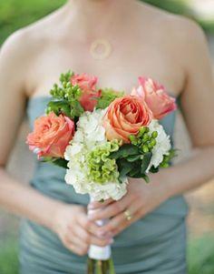 Bridesmaid's Bouquet Showcasing: White Hydrangea, Coral Roses, Green Celosia (Coxcomb, Cock's Comb), Green Hypericum Berries, Green Foliage