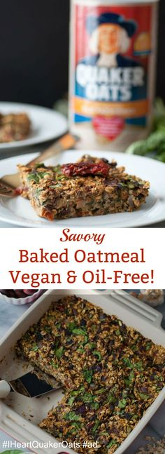Savory baked oatmeal filled with spinach, Kalamata olives, sun-dried tomatoes, fresh herbs, and more! Healthy and delicious!