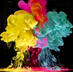 Pictures Colorful Paint dropped into Water