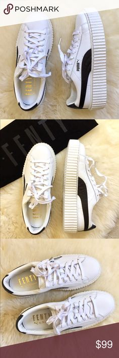 FENTY Puma By Rihanna Creeper Sneakers New In Box-  classic platform sneakers by FENTY Puma  in black and white with round toe, lace up vamp and logo detail at tongue and heel. Come with dust bag and original box. Leather upper, manmade lining and sole. Puma Shoes Sneakers