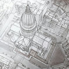 An awesome #axonometric #architecture #illustration by Adelina Gareeva (@adelina.gareeva) of the #Pantheon in #Paris #France and the #streets around it from the tip top of the #buildings dome #spire to the cars in their parking spots. Such amazing precision in the architectural details. The #columns under the dome and the square panels that run up to the near top of the #dome are all evenly spaced and so accurately depicted. The design of this building drawn by #Adelina in this #drawing is…