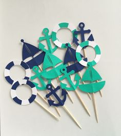 Nautical Themed Cupcake Toppers - Sailboats Anchors & Life Preserver - Set of 12 - Navy and Turquoise #NauticalBabyShower nautical party nautical theme anchor sail boat cupcake toppers nautical cupcakes anchor toppers nautical toppers party supplies nautical baby shower nautical shower baby cupcakes 10.00 USD HoneygoDesigns