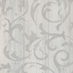 Medium Grey twisted faux wood damask wallpaper for a romantic living room or bedroom.