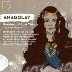 "Anagolay ""Goddess of Lost Things"" - The Philippines Today Filipino Words, Filipino Art, Filipino Culture, Filipino Tattoos, Philippine Mythology, Philippine Art, Mythological Creatures, Mythical Creatures, Cultura Filipina"
