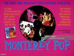 Movie poster advertises the British release of the music documentary 'Monterey Pop,' starring Jimi Hendrix, Otis Redding, Janis Joplin, The Who, The Mamas and the Papas, Canned Heat, and The Jefferson Airplane (Leacock-Pennebaker), 1968…