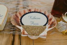 Shell Sand Place Name Card Setting Indie Rustic Beach Marquee Wedding http://www.abiriley.co.uk/
