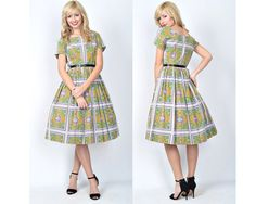 Vintage 50s 60s Dress Full Floral Geometric by thekissingtree, $80.00