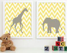 Kids Art for Children, Baby Nursery Decor, Zoo Jungle Nursery Art Print, Safari Animal Nursery Wall Art Chevron Kids Decor