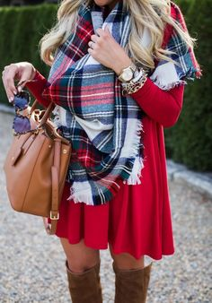 #winter #fashion / Plaid Scarf / Red Dress / Camel Leather Tote Bag