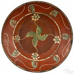 Rare North Carolina redware charger, ca. 1810, possibly Dennis pottery, New Salem, North Carolina - Price Estimate: $4000 - $7000