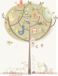 Illustrated by Paper Moon` Kaart Birds in Tree` - shop Illustration Mignonne, Graphic Illustration, Tree Shop, Paper Moon, Cute Doodles, Kids Prints, Moon Child, Botanical Prints, Pretty Pictures