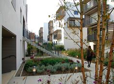 "The urban challenge of the Eco-Quartier Carnot-Verollot consists mainly in re-vitalising an area that was ""disconnected"" from the rest of the city of. Co Housing, Social Housing, Urban Landscape, Landscape Design, Urban Ideas, House Elevation, Affordable Housing, Prefab Homes, Sustainable Architecture"
