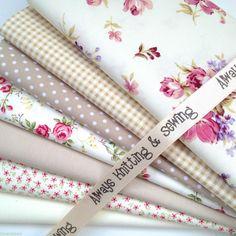 7 FAT QUARTER BUNDLE beige/cream florals rustic rose 100 % cotton fabrics