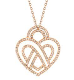 Poiray Collier coeur entrelacé en or rose et diamants
