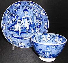 William Smith & Co. Cup and Saucer, c. 1830 - Children and Dog Pattern