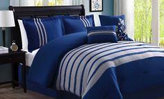Anastasia 6 Piece Comforter Set in Blue Bed Sheet Sets, Bed Sheets, Master Bedroom, Bedroom Decor, Extra Bedroom, Master Suite, Simple Bed, Linen Bedding, Bed Linens